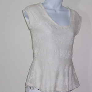 AMERICAN RAG CIE:   Ivory lace top, lined.  Sz  S
